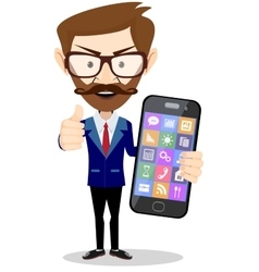 Flat cartoon hipster character - businessman with vector image vector image