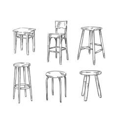 set of hand drawn stools vector image vector image