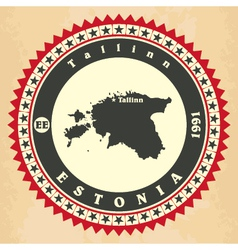 Vintage label-sticker cards of Estonia vector image vector image