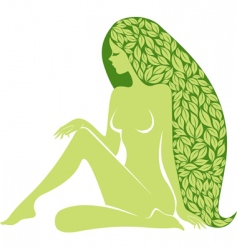 woman with long healty hair vector image