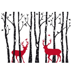birch tree forest with deers vector image vector image