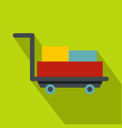 luggage trolley with suitcases icon flat style vector image