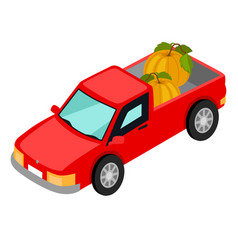 red van pick-up truck with pumpkins isolated vector image vector image