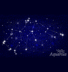 constellation of aquarius in a starry blue sky vector image vector image