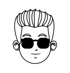face young man character with sunglasses line vector image vector image
