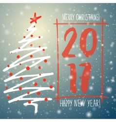 Holiday hand drawn sketch Christmas and New Year vector image vector image