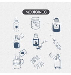 Medicines drugs collection vector image