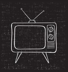 old tv set hand drawn vintage vector image
