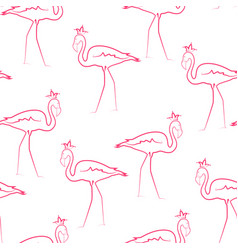 pink flamingo birds wearing crown seamless pattern vector image vector image