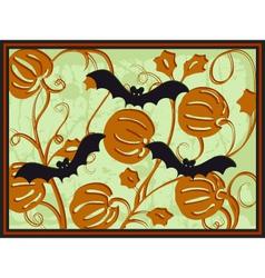 pumpkins and bats vector image