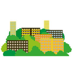Smart city with contemporary buildings networks vector