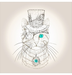 Steampunk cat vintage style vector
