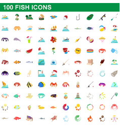 100 fish icons set cartoon style vector image