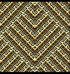 3d gold zigzag greek seamless pattern vector
