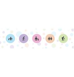 5 elderly icons vector