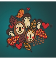 Autumn background with children in costumes vector
