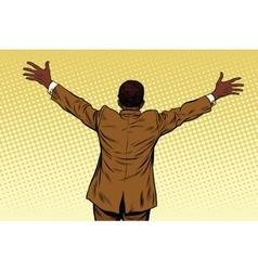 Back African American businessman open hands for vector