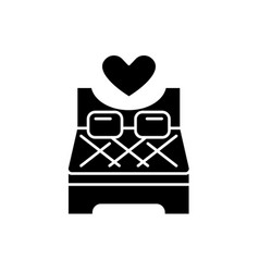 bed for lovers black icon sign on isolated vector image