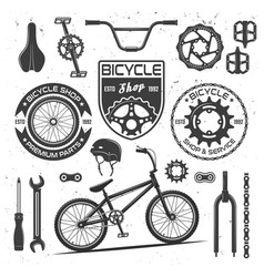 Bicycle black elements badges labels vector