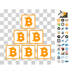 Bitcoin pyramid icon with bonus vector