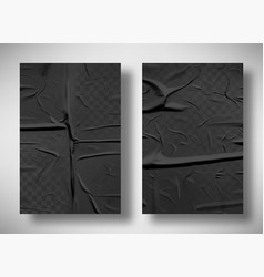 black bad glued paper with wrinkles and folds vector image