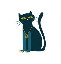 black cat witchcraft attribute vector image