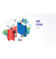book festival concept - a group of tiny people vector image