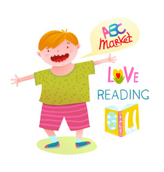 Boy love reading happy cartoon vector