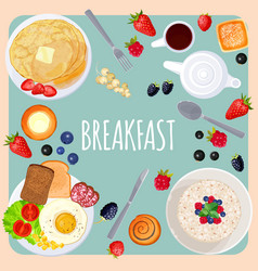 breakfast table with food isolated on vector image