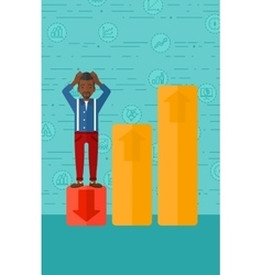 Businessman standing on low graph vector