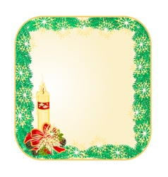 Button square Christmas Spruce with candle vector image vector image