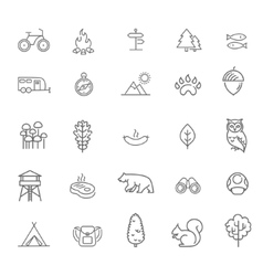Camping Forest and Outdoor Activities icons vector
