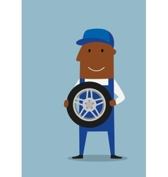 Car mechanic in blue uniform with wheel vector image