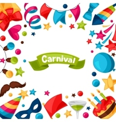 Carnival show and party greeting card with vector image