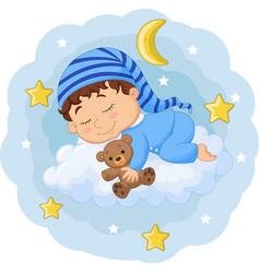 Cartoon basleeping with teddy bear on cloud vector