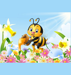 cartoon bee holding honey bucket with flower vector image
