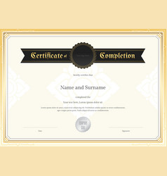 Certificate completion template applied thai art vector