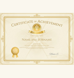 Certificate of achievement template with elegant vector