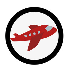 circular emblem with cargo airplane vector image