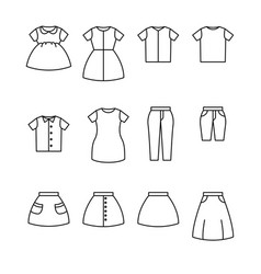 Clothes line icon set apparel outline icon vector