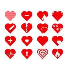 collection heart symbol vector image