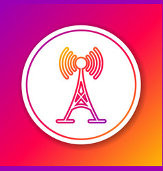 color antenna line icon isolated on color vector image