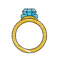 Color crayon stripe image diamond engagement ring vector