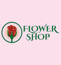 Color template for flower shop with rose vector