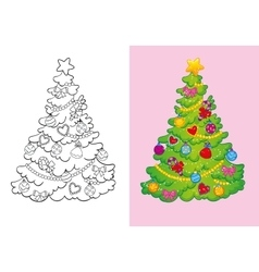 Coloring Book Of Decorated Christmas Tree vector
