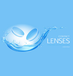 contact lenses on water splash background banner vector image