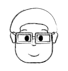 Contour man with hairstyle and glasses vector