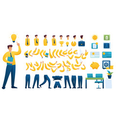 Create your own businessman character flat 2d vector
