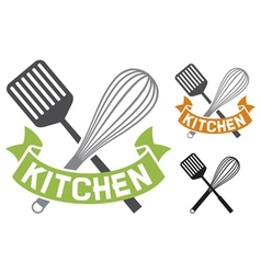 crossed spatula and balloon whisk - kitchen symbol vector image