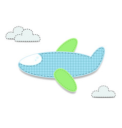 Cut out fabric or paper chequered blue airplane vector